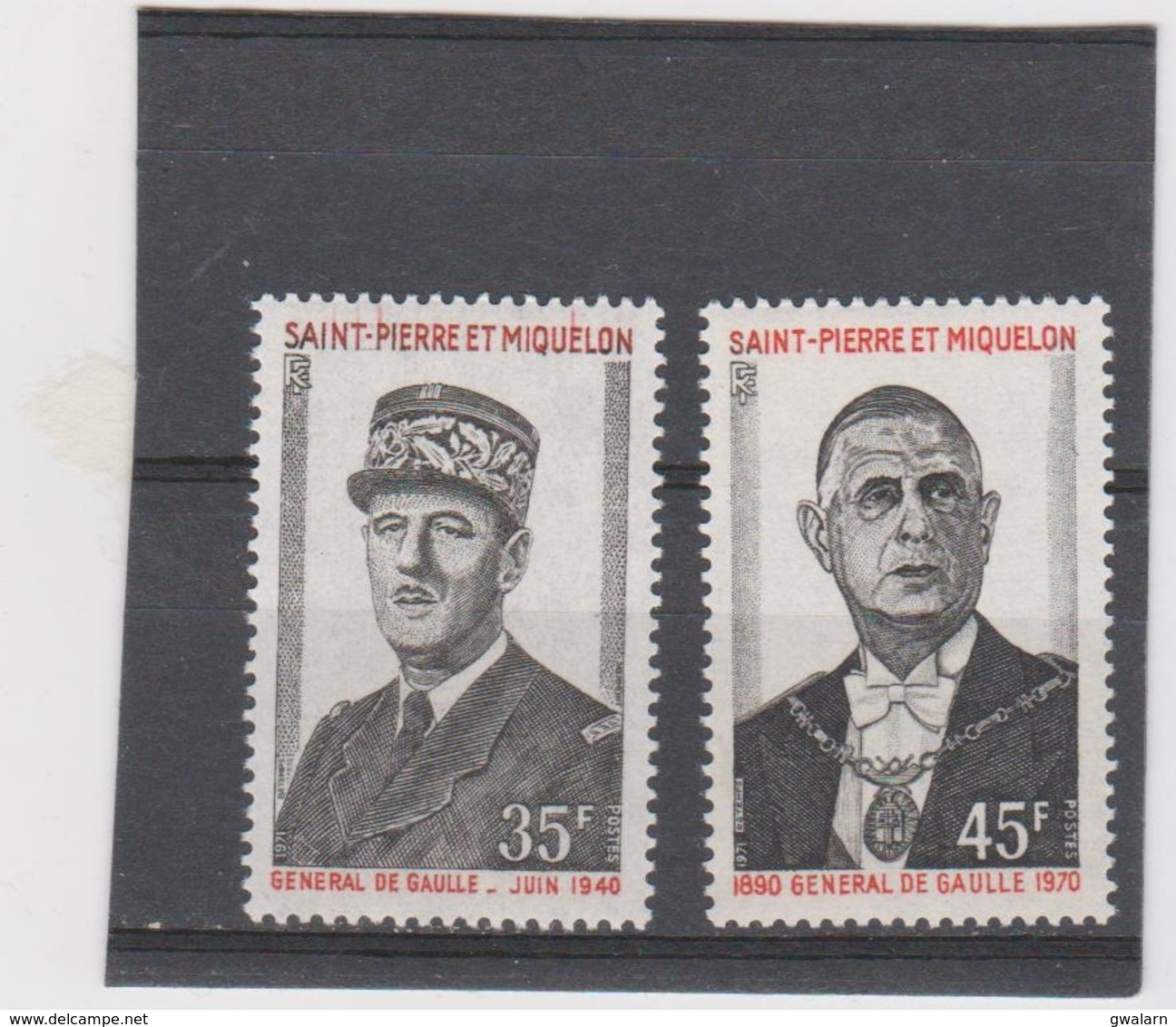 SAINT PIERRE ET MIQUELON Série Complète 2 T Neufs Xx N° YT 419 à 420  - 1971 - General De Gaulle - De Gaulle (General)