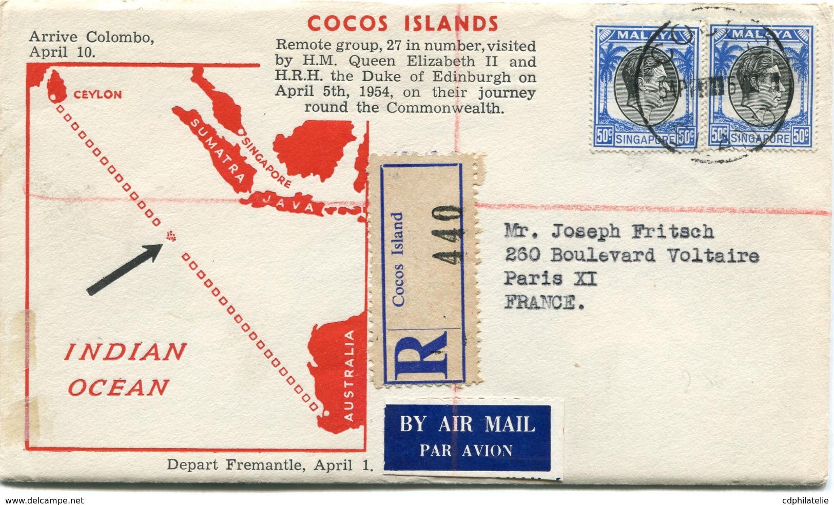"COCOS ISLANDS ENVELOPPE RECOMMANDEE PAR AVION ""VISITE DE LA REINE ELISABETH II...."" DEPART COCOS 5 APR 54 POUR LA FRANCE - Cocos (Keeling) Islands"
