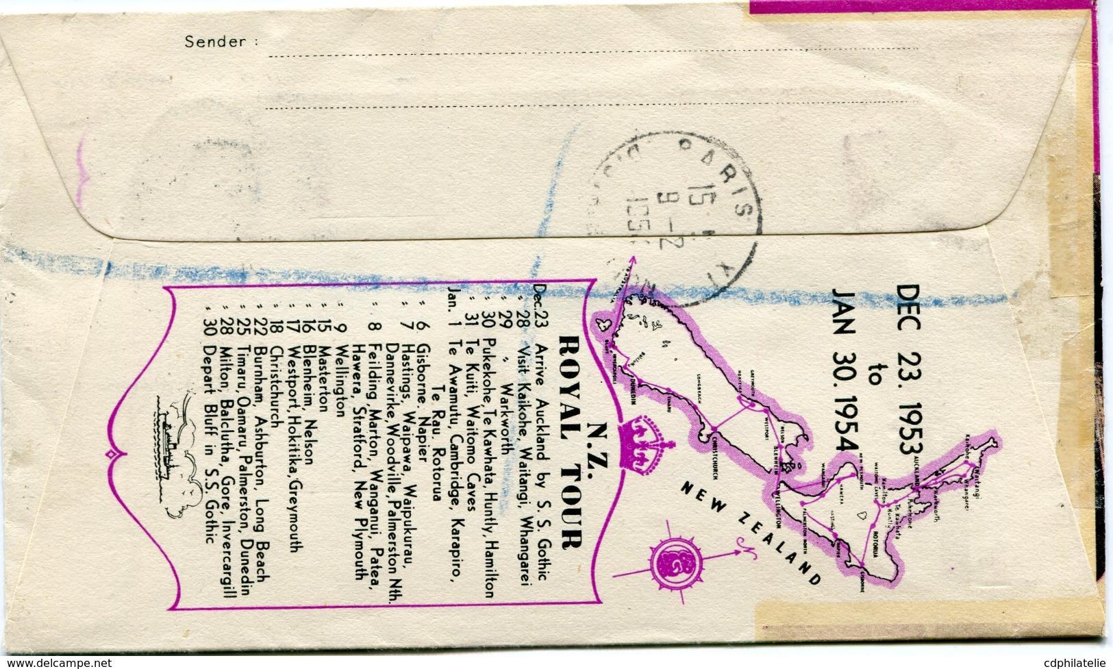 "NOUVELLE-ZELANDE ENVELOPPE RECOMMANDEE ""ROYAL VISIT 1953-1954"" DEPART CHRISTCHURCH 3 FE 54 POUR LA FRANCE - Briefe U. Dokumente"