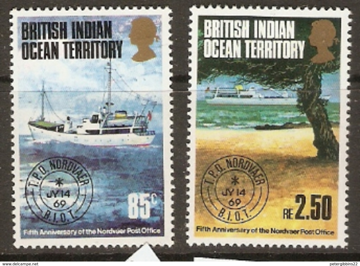 British Indian Ocean Territory   1974   SG 56-7 Norvdoer Travelling Post Office    Unnmounted Mint - British Indian Ocean Territory (BIOT)