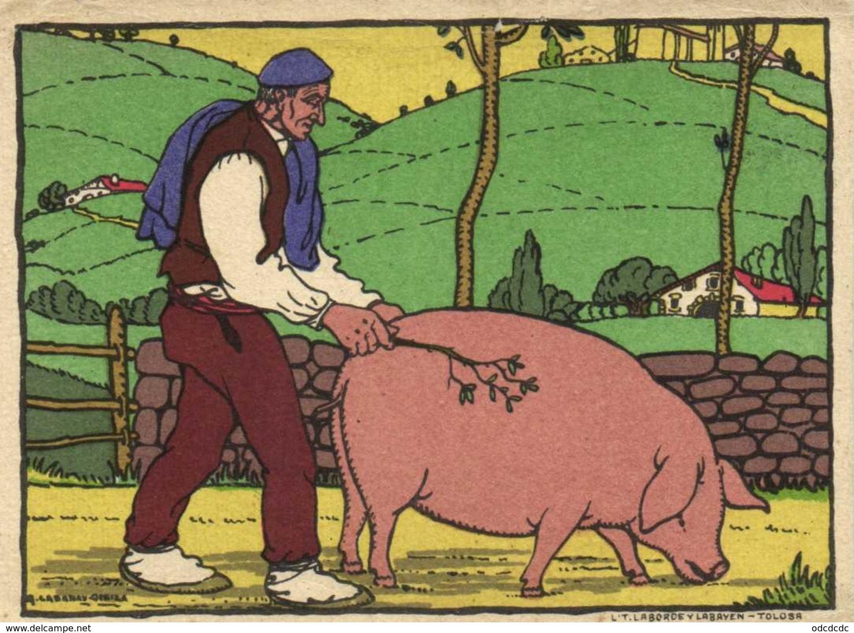 Illustrateur Signé La Conduite Dy Cochon Laborde Y Labayen Tolosa RV - Pigs