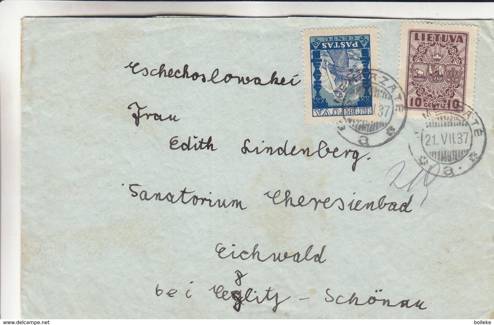Lituanie - Lettre De 1937 - Oblit Nemerzate - Exp Vers Eichwald - Lithuania