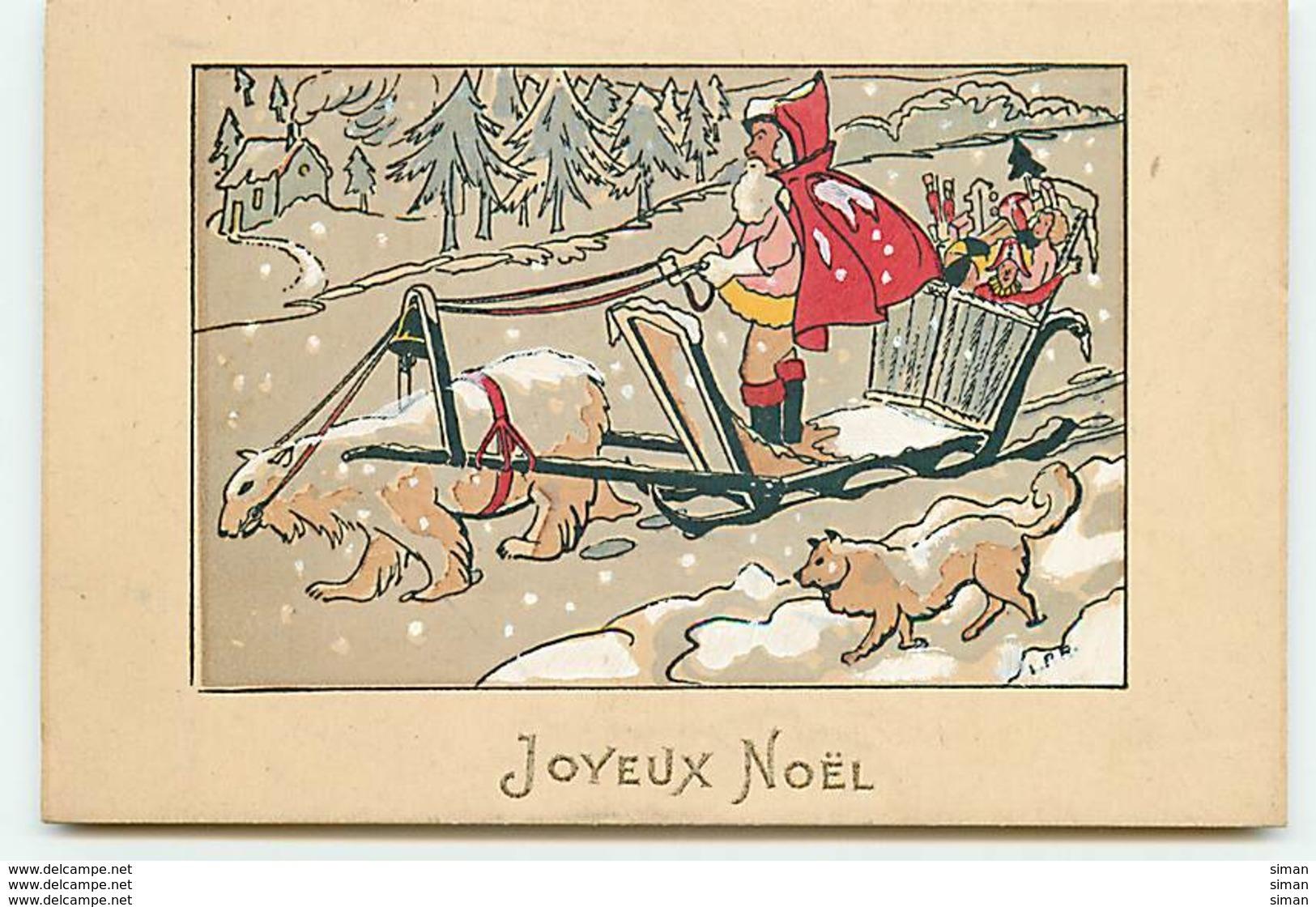 N°11186 - Carte Fantaisie - Joyeux Noël - Père Noël - Attelage Avec Un Ours Blanc - Noël