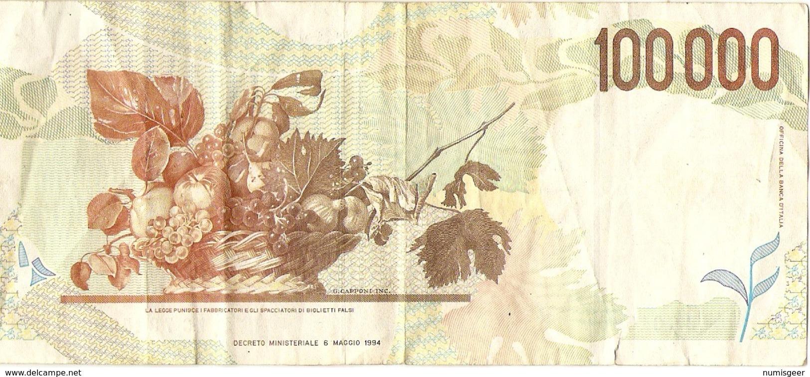 100000 LIRE CARAVAGGIO - [ 2] 1946-… : República