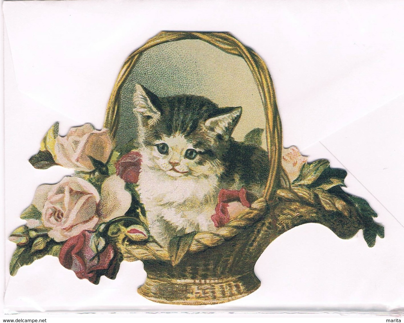 Chat- Cat -katze -gatto - Poesje In Mand- Carte Découpé - Chats