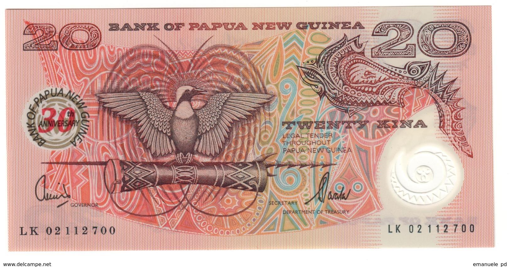 Papua New Guinea 20 Kina 2002 Commemorative 30 Years UNC .PL. - Papua Nuova Guinea