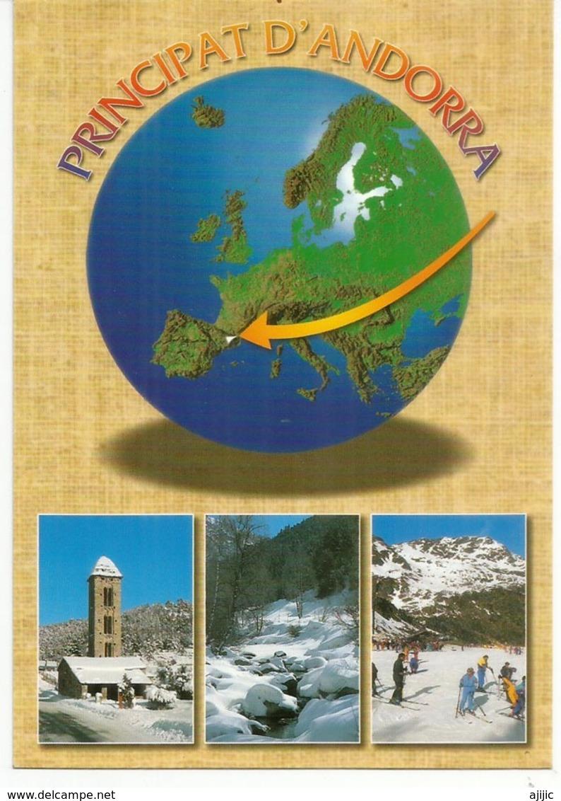 Andorra. Sa Position En Europe. Carte Géographique , Nouvelle Carte Postale Neuve, Non Circulée. - Andorre