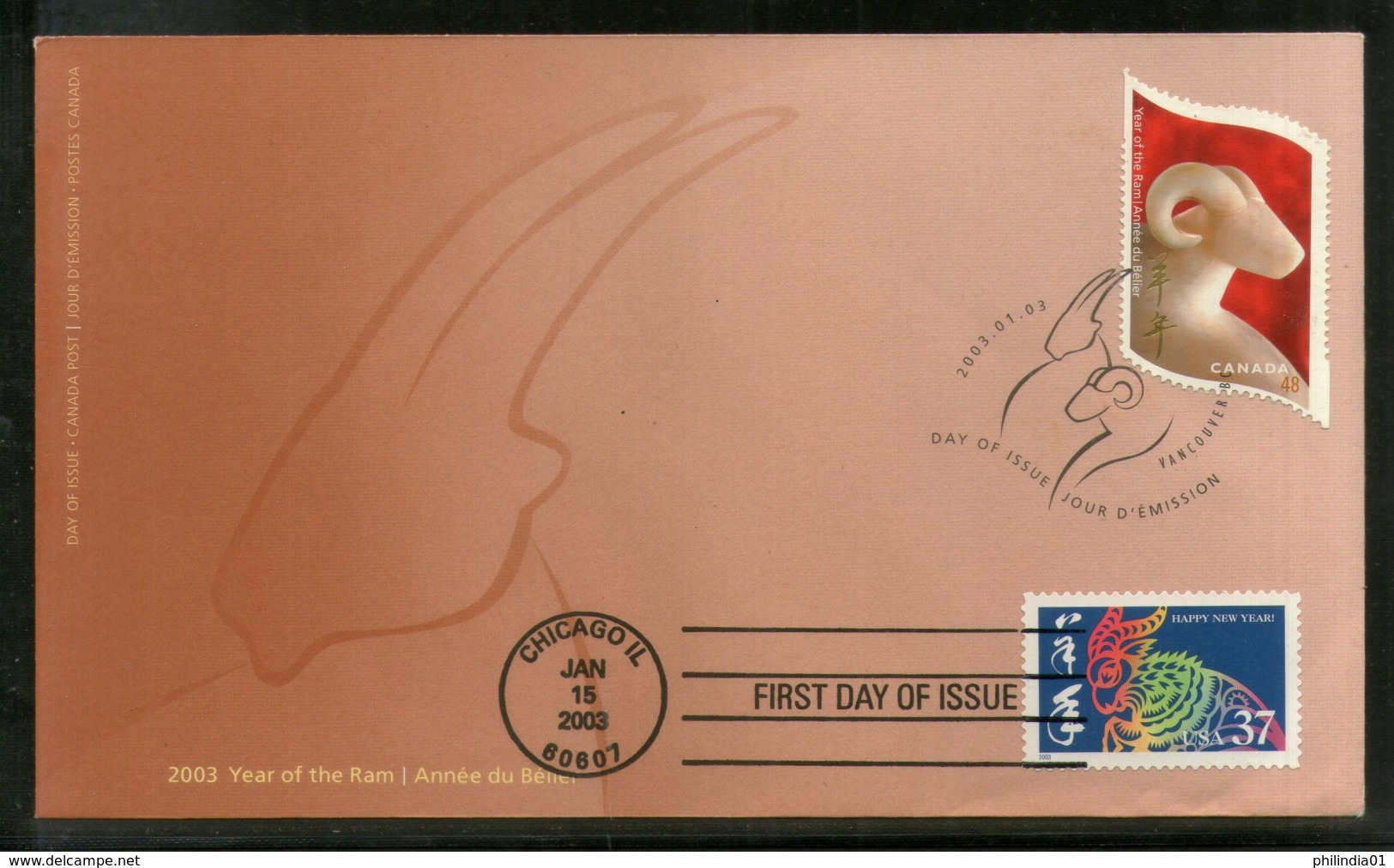 Canada 2003 Chinese New Year Of Ram Odd Shaped Combo With USA FDC # 234 - Chinese New Year