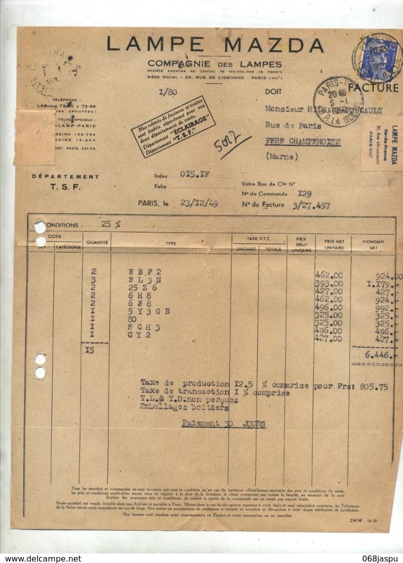 Lettre Cachet Paris VIII Sur Gandon Facture Lampe Mazda - Marcophilie (Lettres)