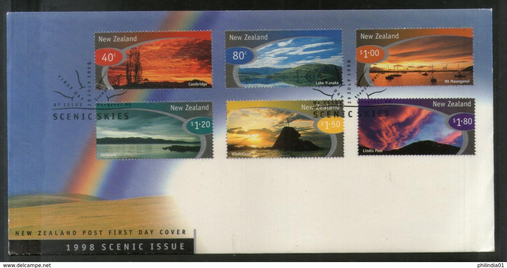 New Zealand 1998 Scenic Skies Lake Mountain Tourism Sc 1526-31 FDC # 16579 - Other
