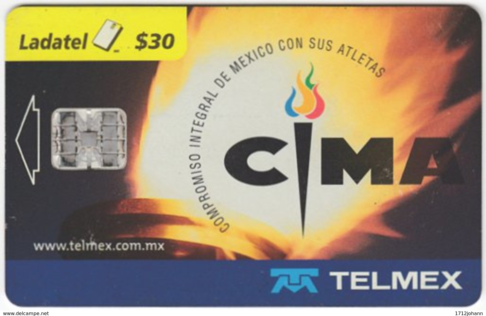 MEXICO B-078 Chip Telmex - Event, Sport, Olympic Games - Used - Mexico