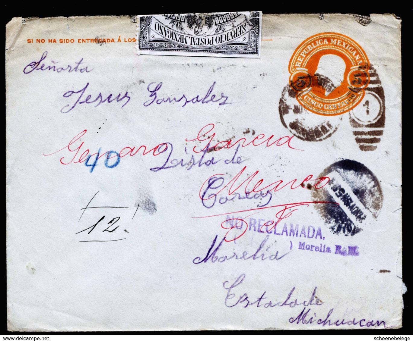 A6299) Mexico Cover 1914 NO RECLAMADA Unzustellbar AMTLICH Geöffnet SELTEN RARE - Mexiko