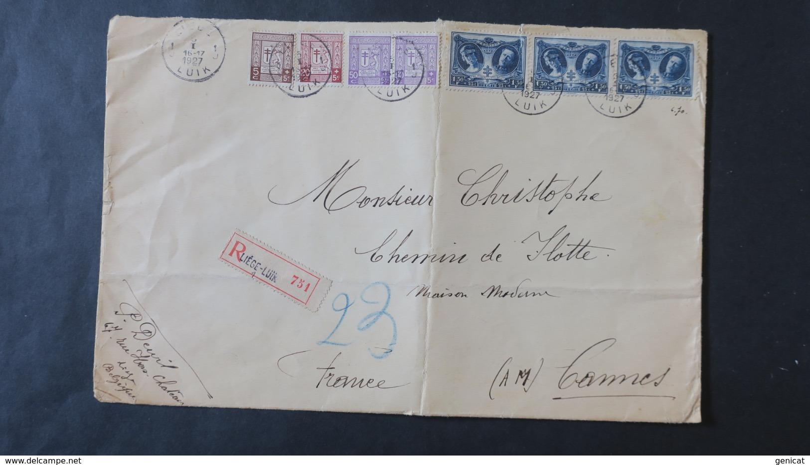 Belgique Lette Grand Format En Recommandé 1927 De Liège Pour Cannes France  ( Enveloppe Pliée ) - Covers & Documents