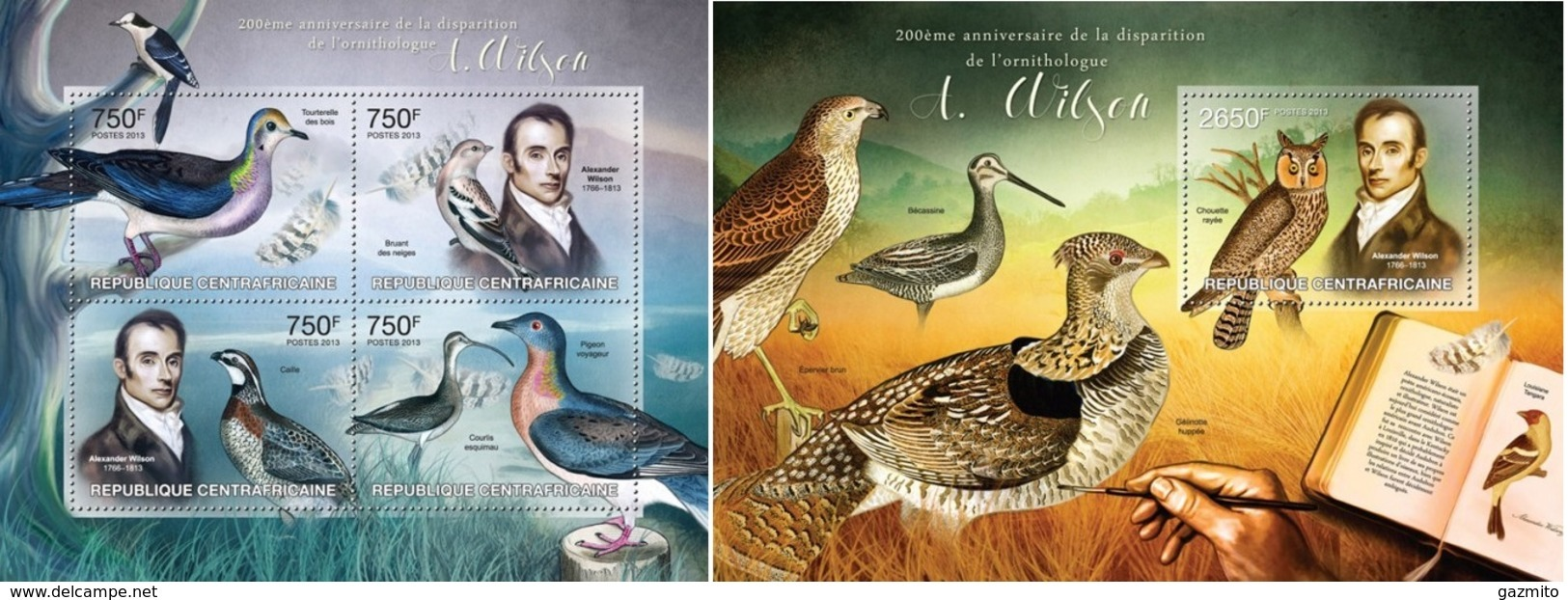 Centrafrica 2013, Animals, Ornithologist A. Wilson, 4val In BF+BF - Zentralafrik. Republik