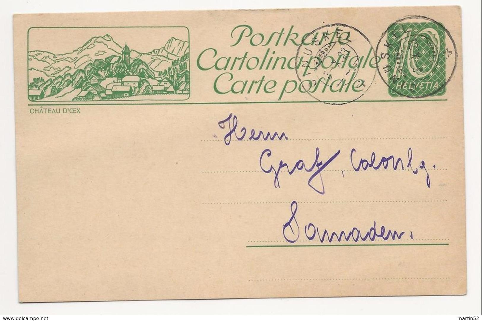 """Schweiz Suisse 1923: Bild-PK CPI """"CHÂTEAU D'OEX"""" Mit Stempel CINUSKEL 3.X.23 Nach Samaden - Entiers Postaux"""