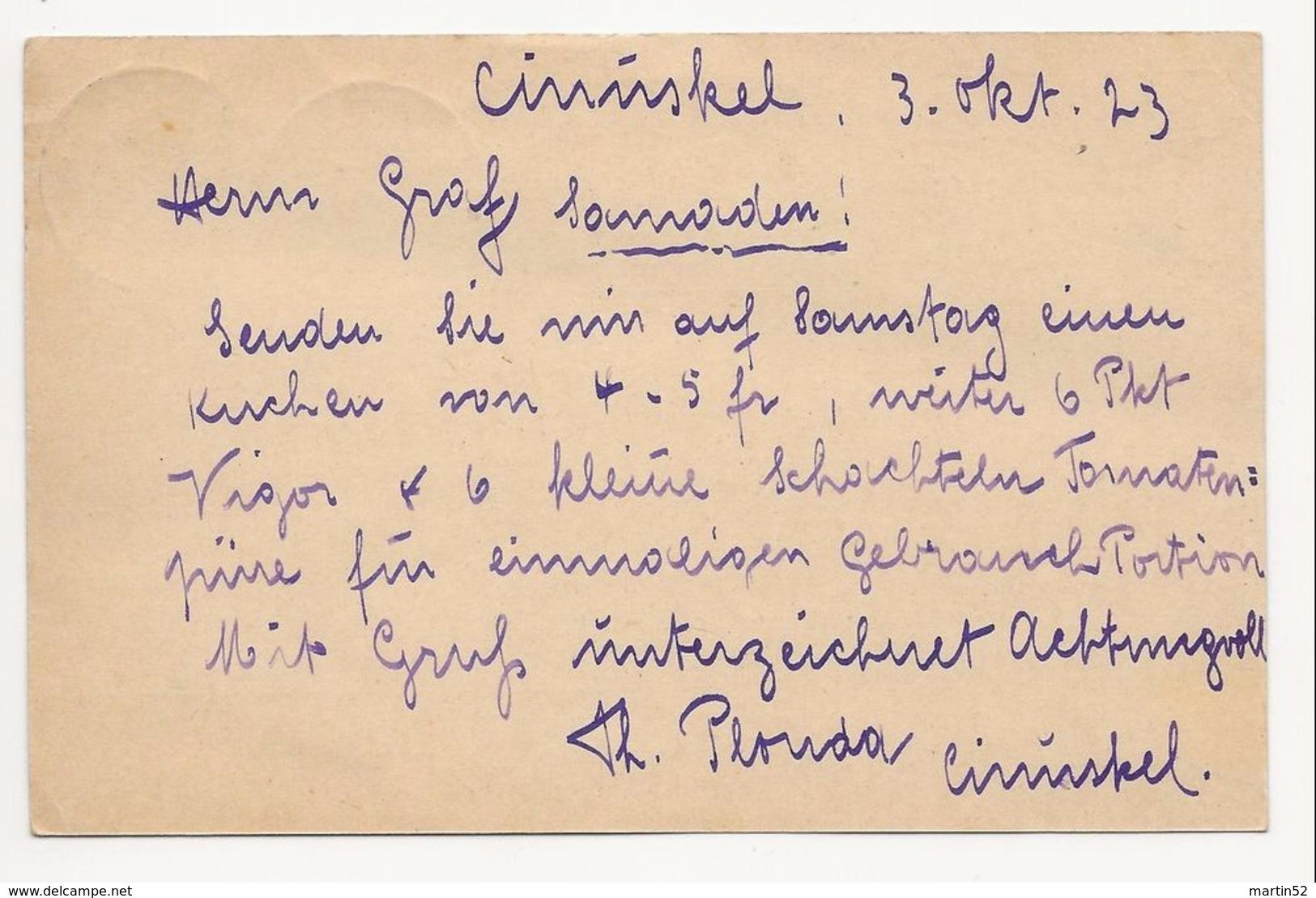 """Schweiz Suisse 1923: Bild-PK CPI """"CHÂTEAU D'OEX"""" Mit Stempel CINUSKEL 3.X.23 Nach Samaden - Interi Postali"""