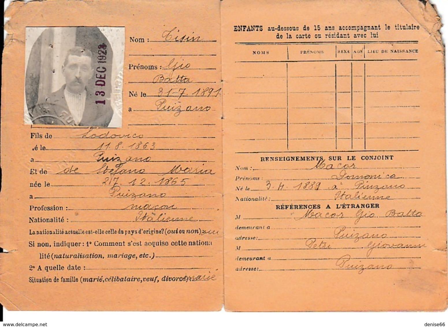 1923 - CARTE D'IDENTITÉ Pour Un ETRANGER ITALIEN -  MARCOING (59) - Documents Historiques