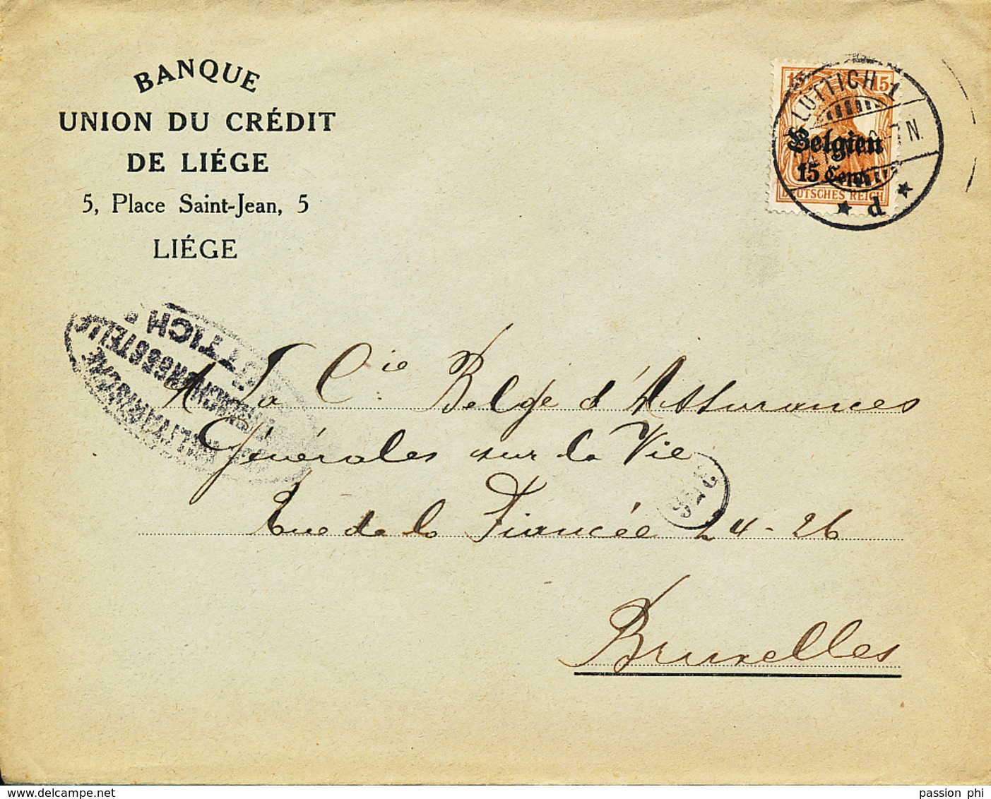 BELGIUM  WW1 COVER FROM LIEGE TO BRUSSELS - WW I