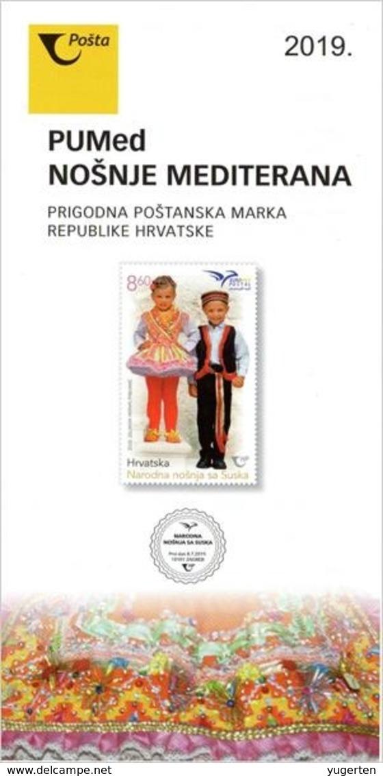 CROATIA 2019 - Brochure - Flyer - Leaflet EUROMED POSTAL Joint Issue - Mediterranean Costumes Kostüme Trajes Costumi - Emissions Communes