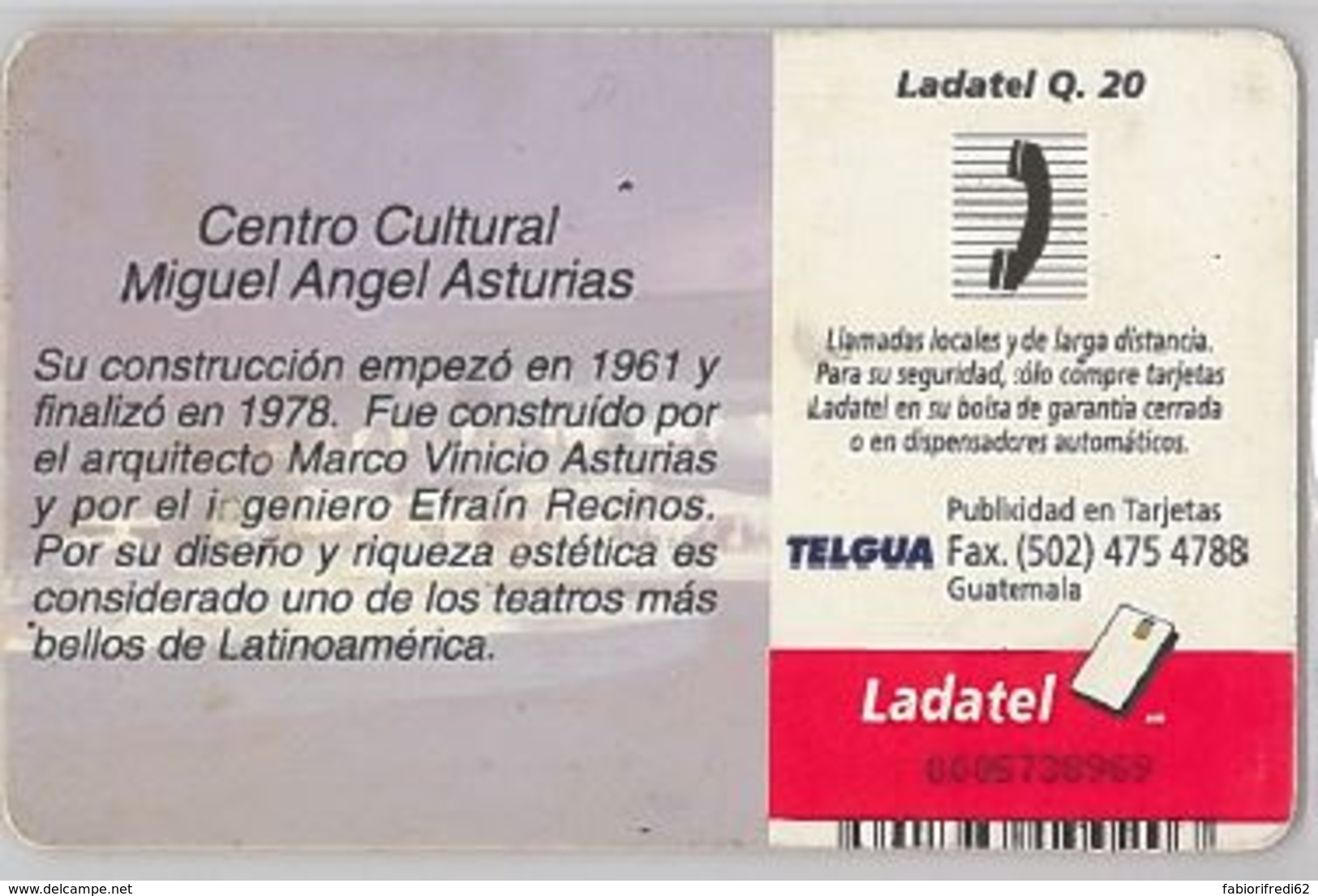PHONE CARD-GUATEMALA (E47.38.5 - Guatemala