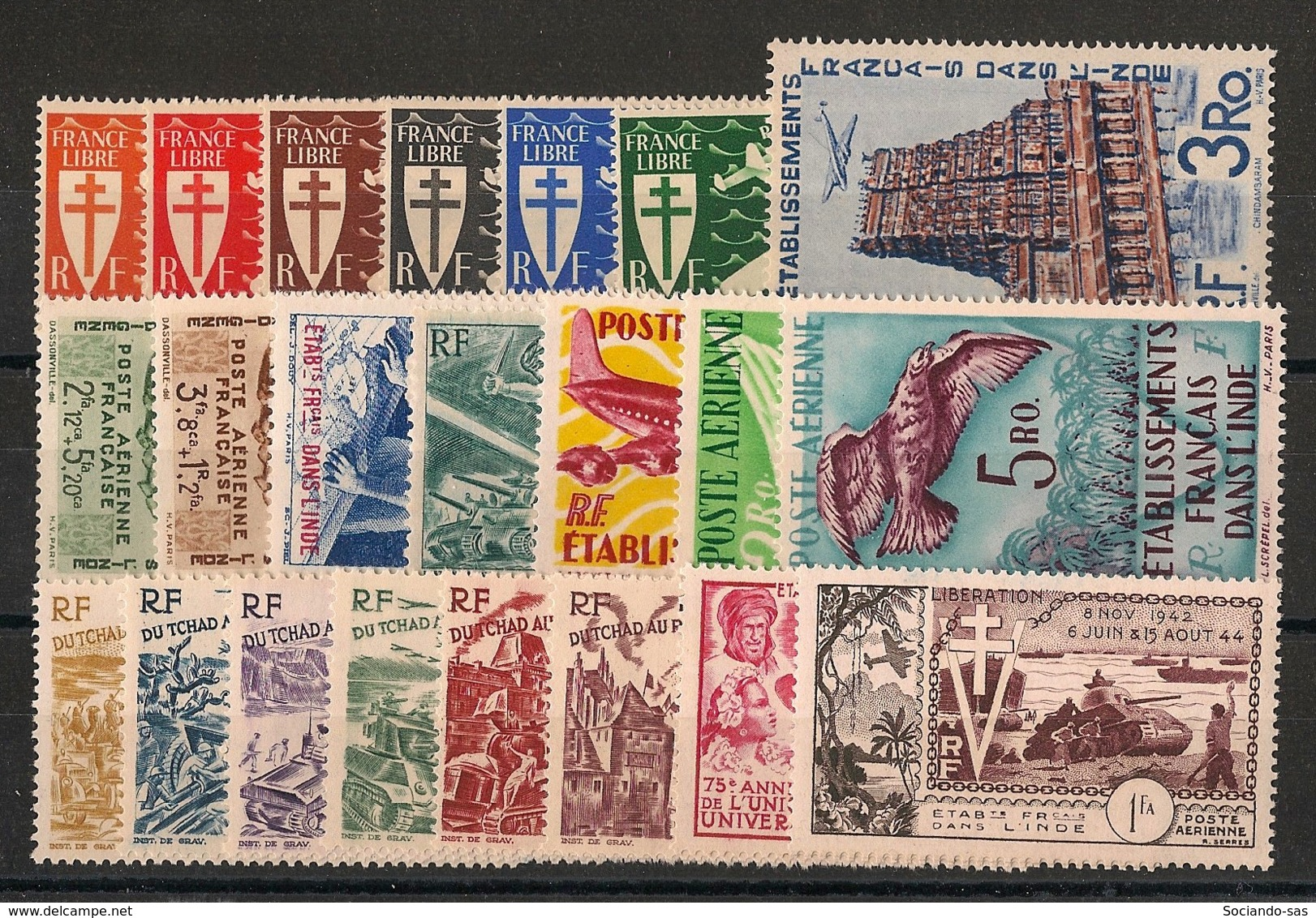 Inde - 1942-54 - Poste Aérienne PA N°Yv. 1 à 22 - Complet - Neuf Luxe ** / MNH / Postfrisch - Indien (1892-1954)