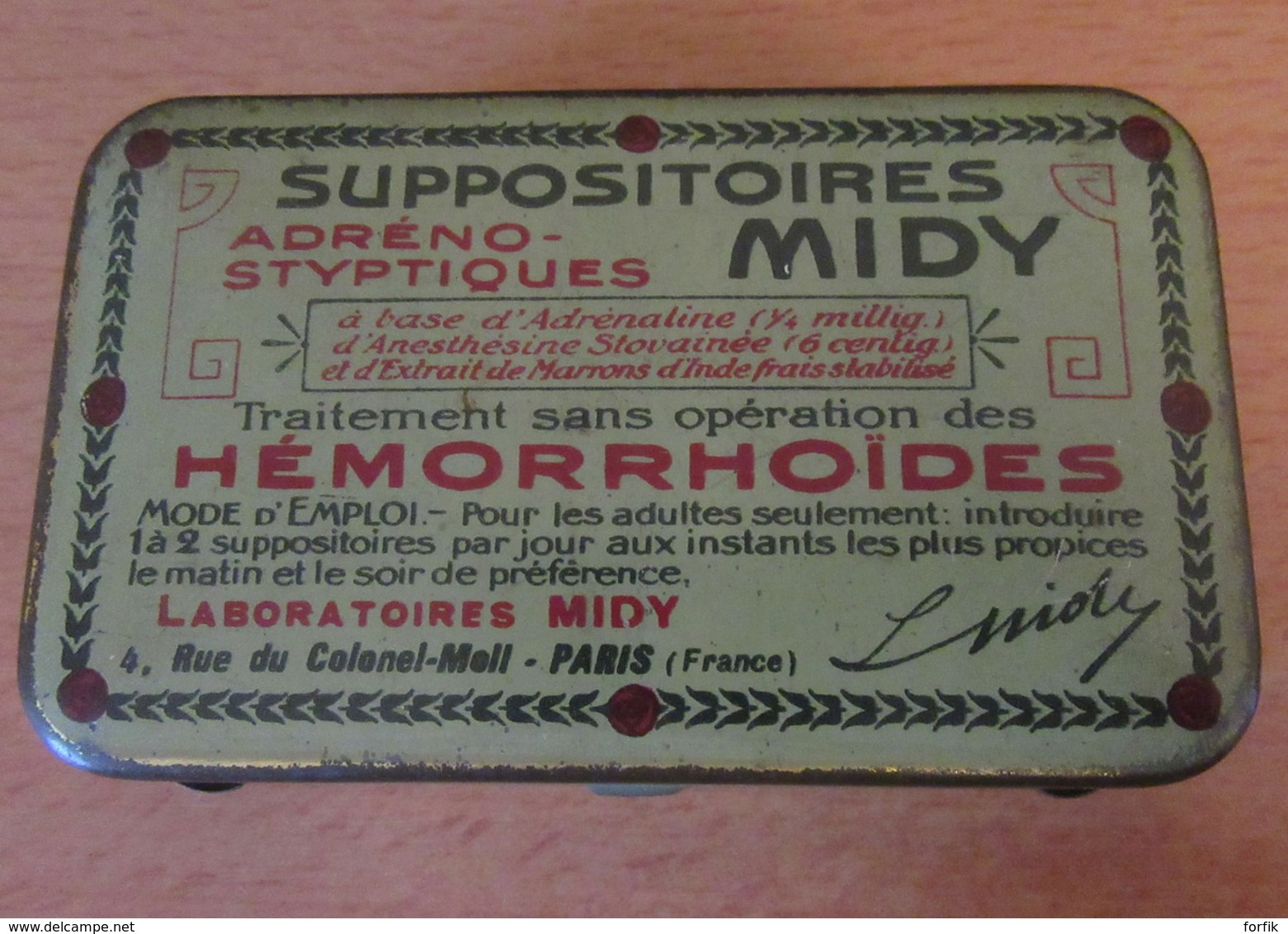 """Boîte Publicitaire Ancienne En Tôle Lithographiée """"SUPPOSITOIRES MIDY"""" - Dimensions : 10 X 6 X 2 Cm Environ - Boxes"""