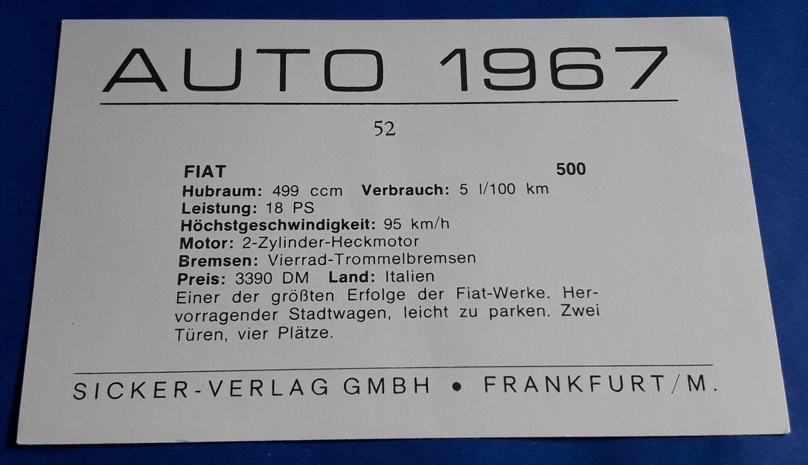 """FIAT 500 # Altes Sammelbild Aus Der Serie """"AUTO 1967"""" Vom Sicker-Verlag In Frankfurt/M. # [19-1948] - Alte Papiere"""