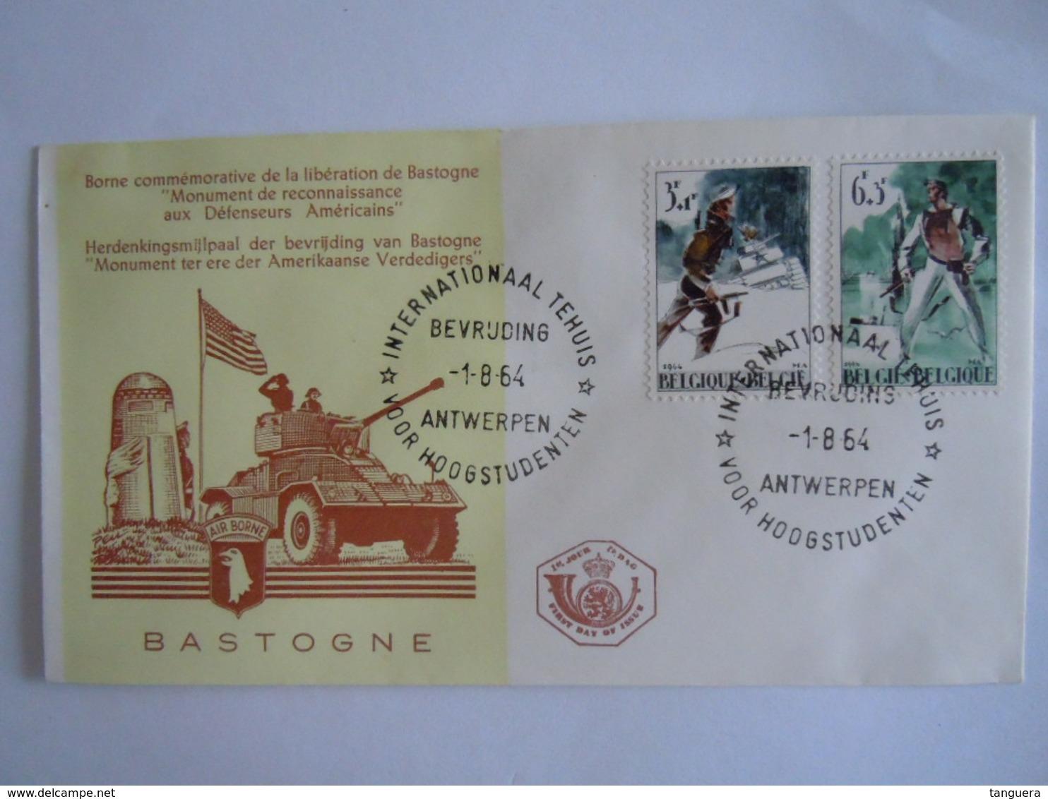 België Belgium 1964 FDC Verzet En Bevrijding 1944 Résistance Et Liberation Monument Bastogne Air Borne Cob 1296-1297 - FDC