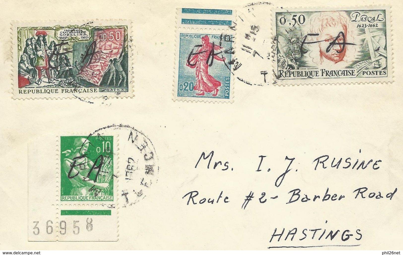 Algérie RRR Lettre Par Avion MARNIA Pour USA Le  07 /07/1962 N° 1231; 1233; 1343 Et 1344 Surcharge EA à La Main TB  +++ - Algeria (1924-1962)