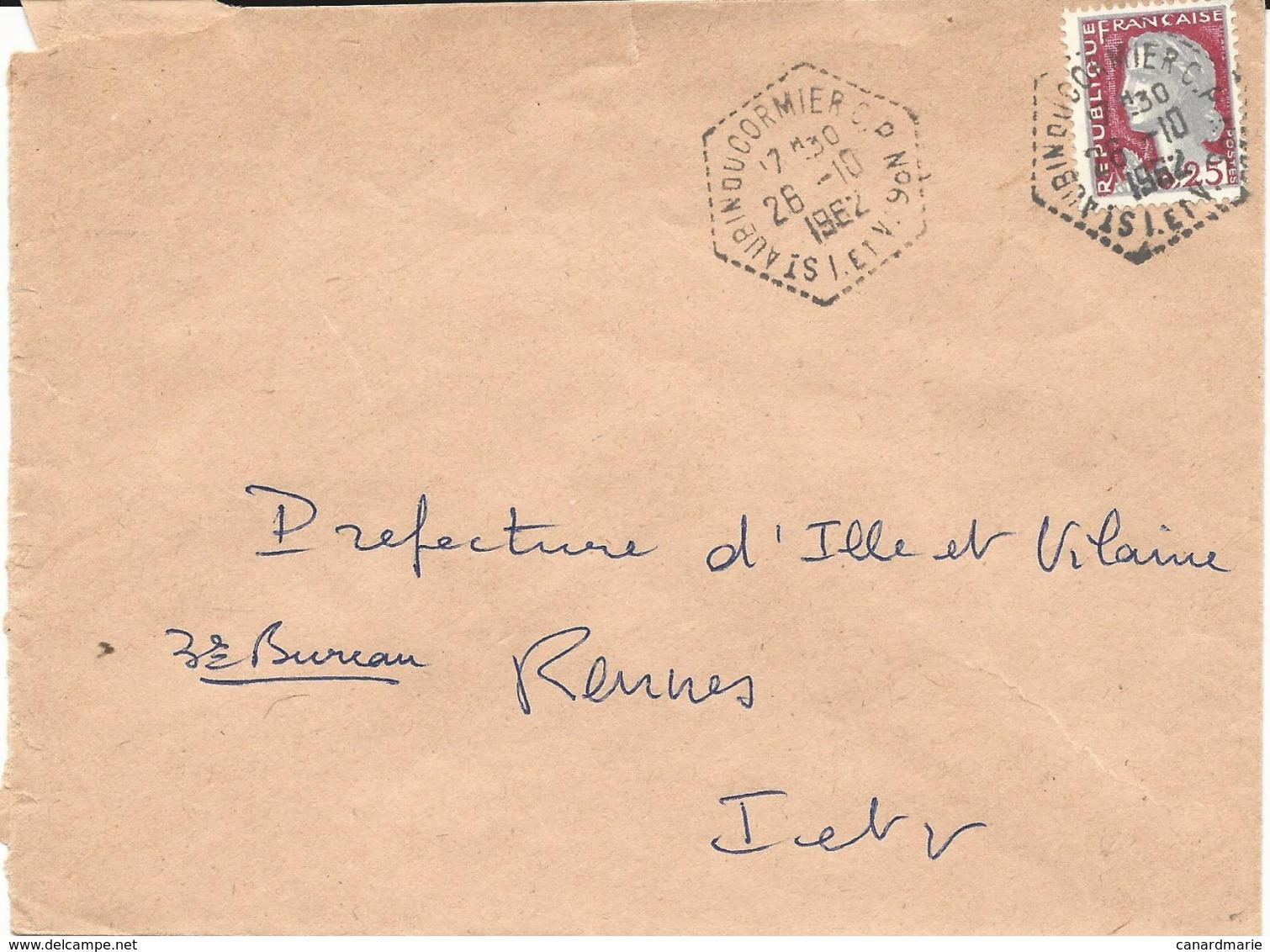 LETTRE 1962 AVEC CACHET HEXAGONAL DE POSTE AUTOMOBILE RURALE ST AUBIN DU CORMIER C.P. N° 6 ILLE ET VILAINE - Marcophilie (Lettres)