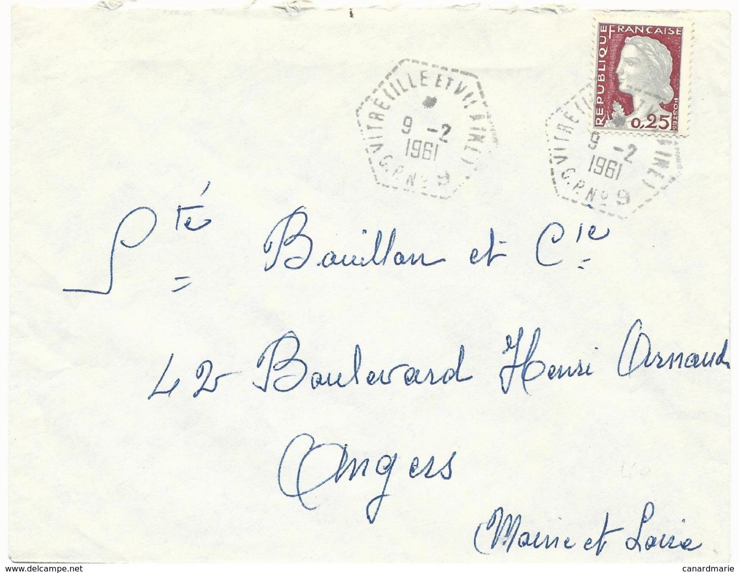LETTRE 1961 AVEC CACHET HEXAGONAL DE POSTE AUTOMOBILE RURALE VITRE C.P. N° 9 ILLE ET VILAINE - Marcophilie (Lettres)