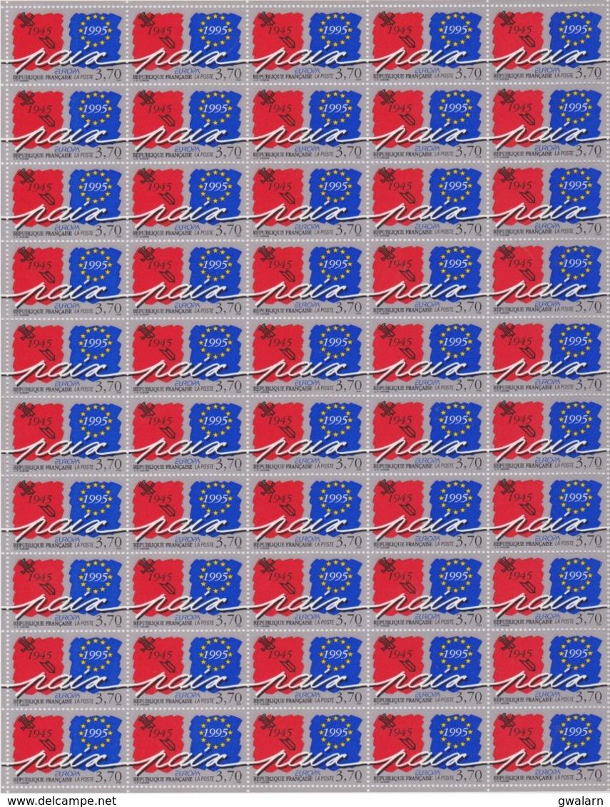 FRANCE 2 Feuilles Complétes 50 T  2941 2942 - Vendues Sous Valeur Faciale - 1995 - Europa Paix Et Liberté - WW2 (II Guerra Mundial)