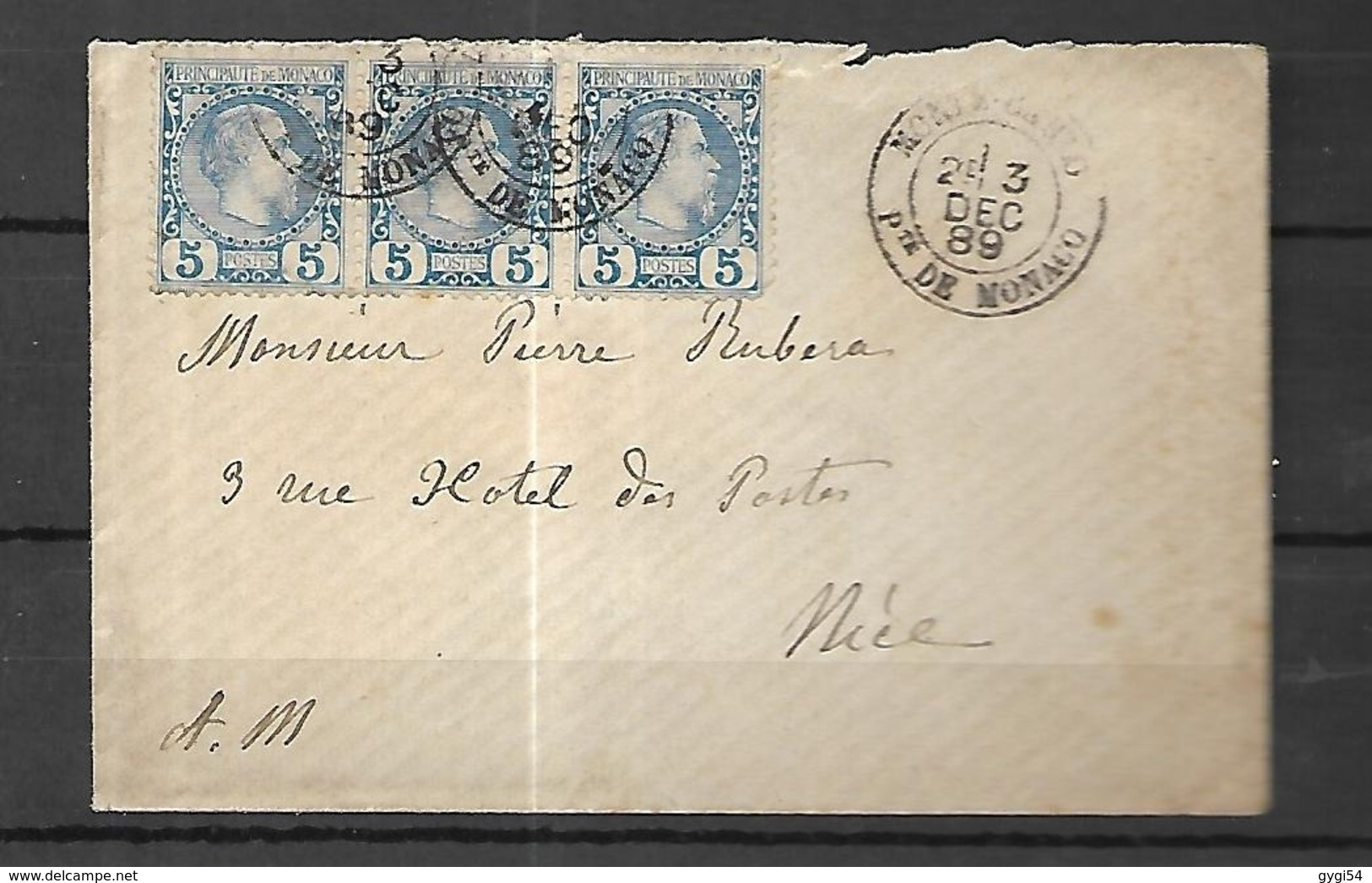 Monaco Lettre  Du 09 12   1889 Pour  NICE    Affranchissement  Bande De 3 Du N° 3 - Covers & Documents