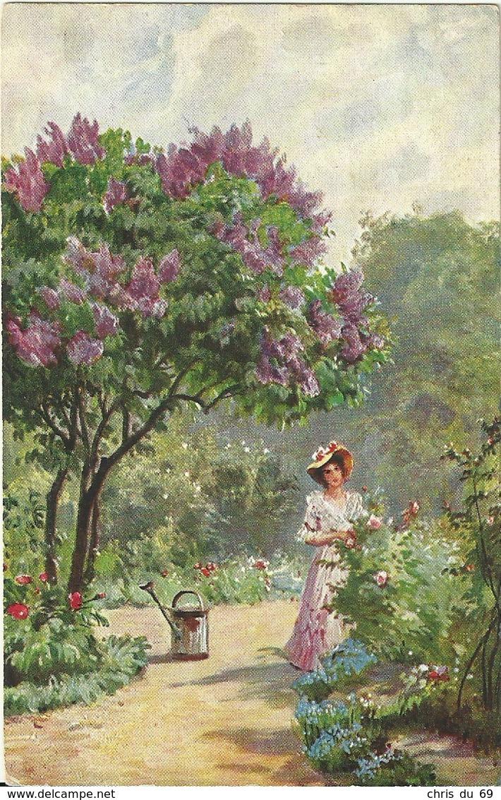 Jardin Femme Arrosoir Cachet Convoyeur Paris A Malesherbes - Fantaisies