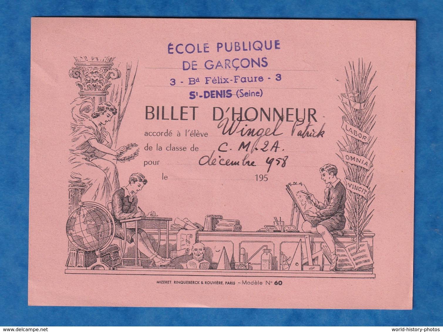 - Billet D'honneur De 1958 - SAINT DENIS - Ecole Publique De Garçons 3 Boulevard Félix Faure - Patrick WINGEL - Billets
