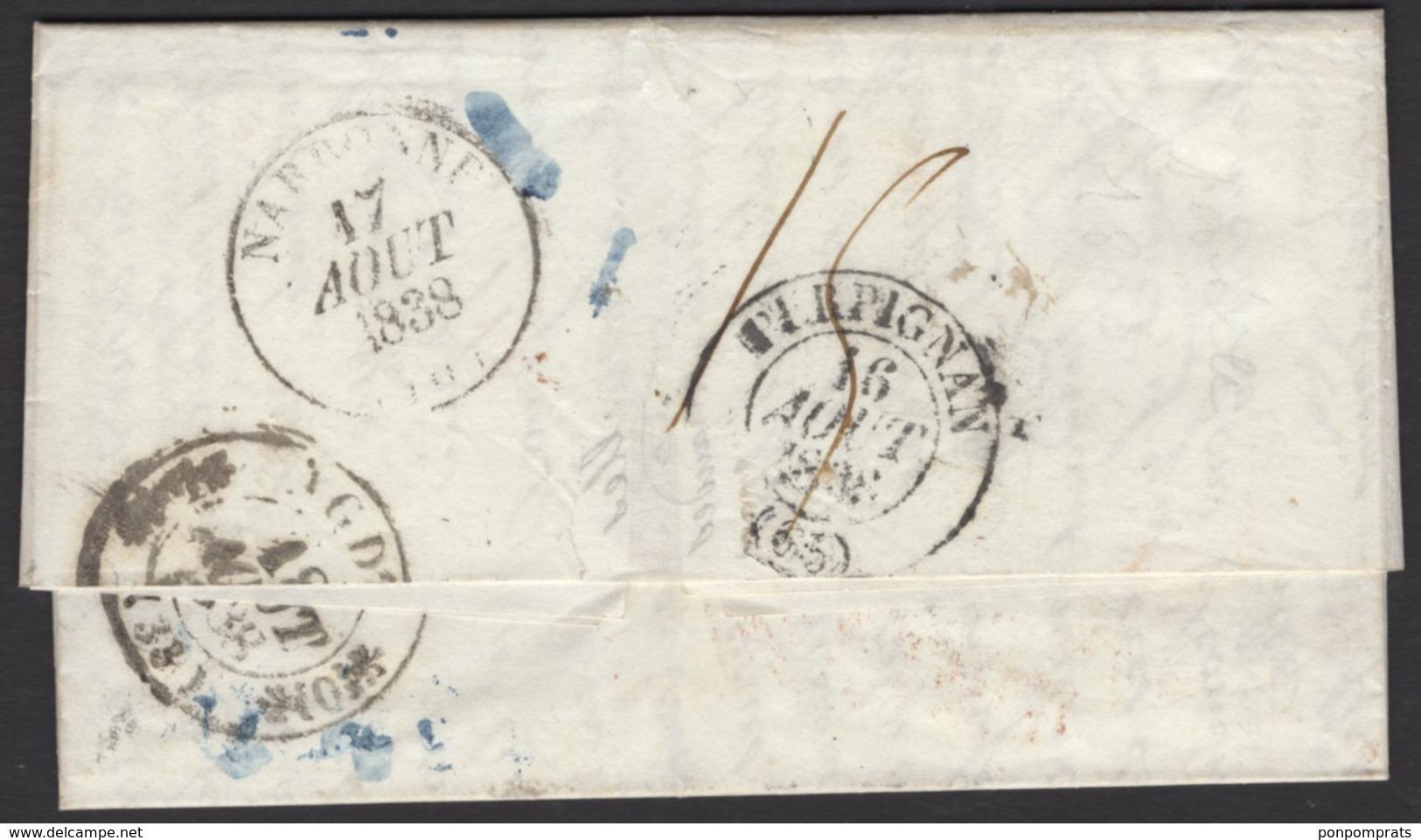 Pli De SEVILLE De 1838 En Port Du  Oblt Bleue SEVILA / 1838 / 25 JULIO + Entrée Rouge ESPAGNE PAR / PERPIGNAN P AGDE - Espagne