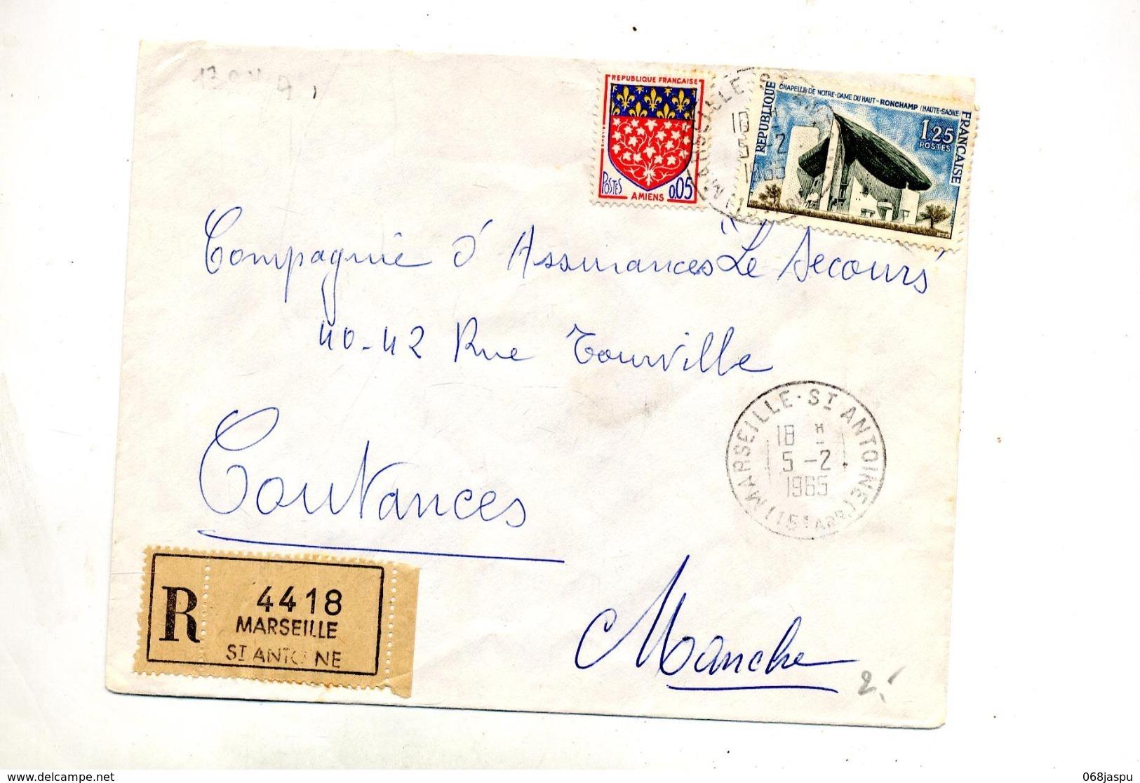 Lettre Recommandée Marseille Sur Ronchamp - Marcophilie (Lettres)