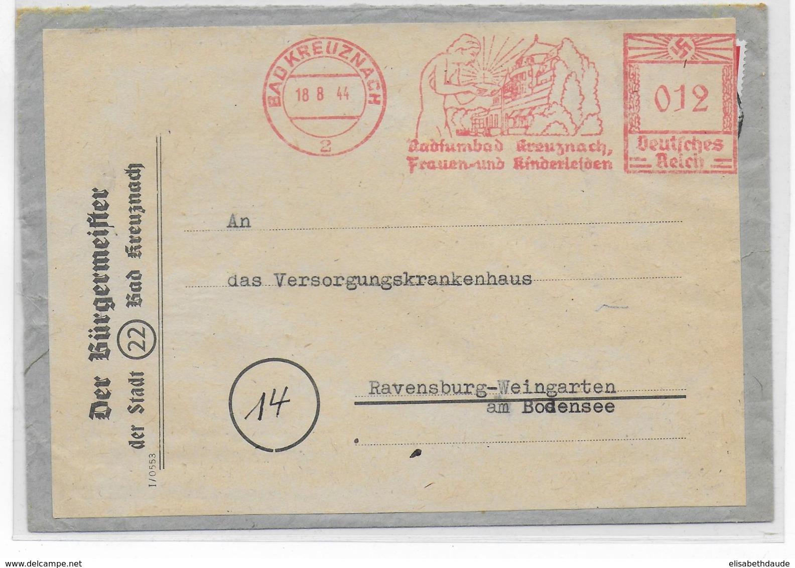REICH - 1944 - EMA (TOURISME) Sur LETTRE REUTILISEE De BAD KREUZNACH - Marcofilia - EMA ( Maquina De Huellas A Franquear)