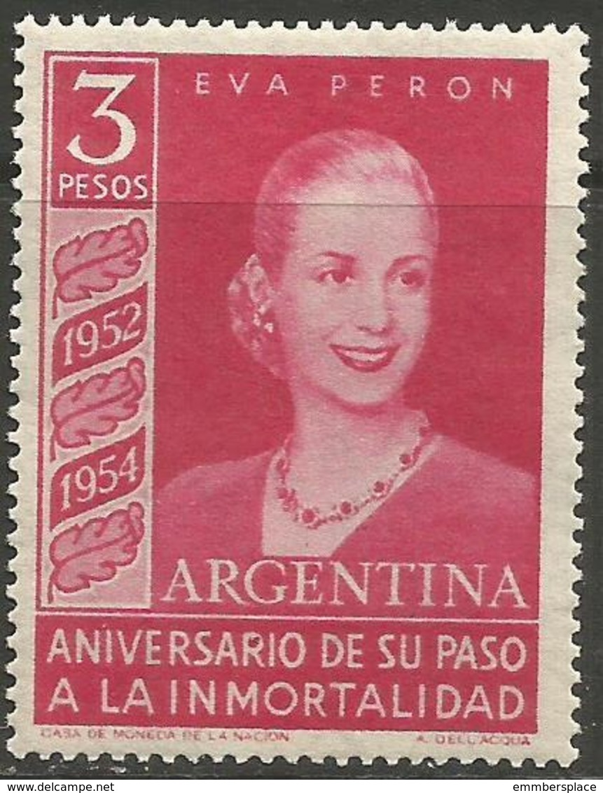 Argentina - 1954 Eva Peron 3p MNH *   Sc 626 - Argentina