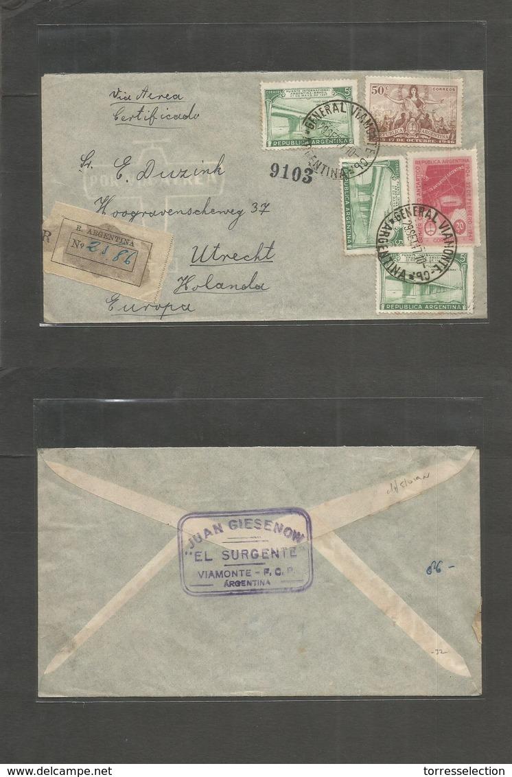 Argentina - Xx. 1947 (29 Sept) General Viamonte - Netherlands, Utrecht. Registered  Multifkd Airmail Env. VF Origin Usag - Argentina