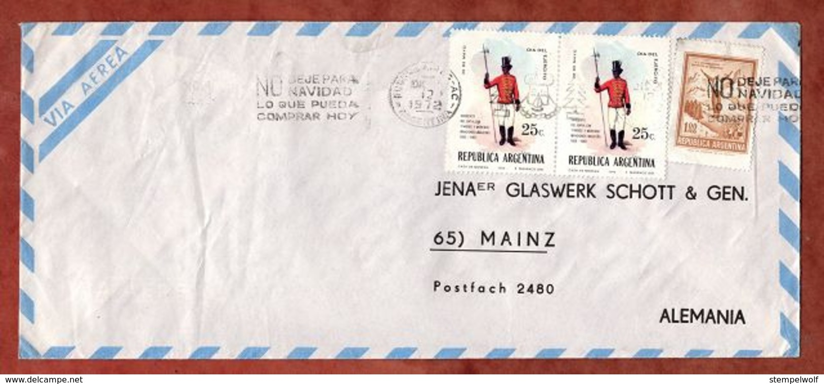 Luftpost, Tag Der Armee U.a., MS Buenos Aires, Nach Mainz 1972 (79505) - Storia Postale
