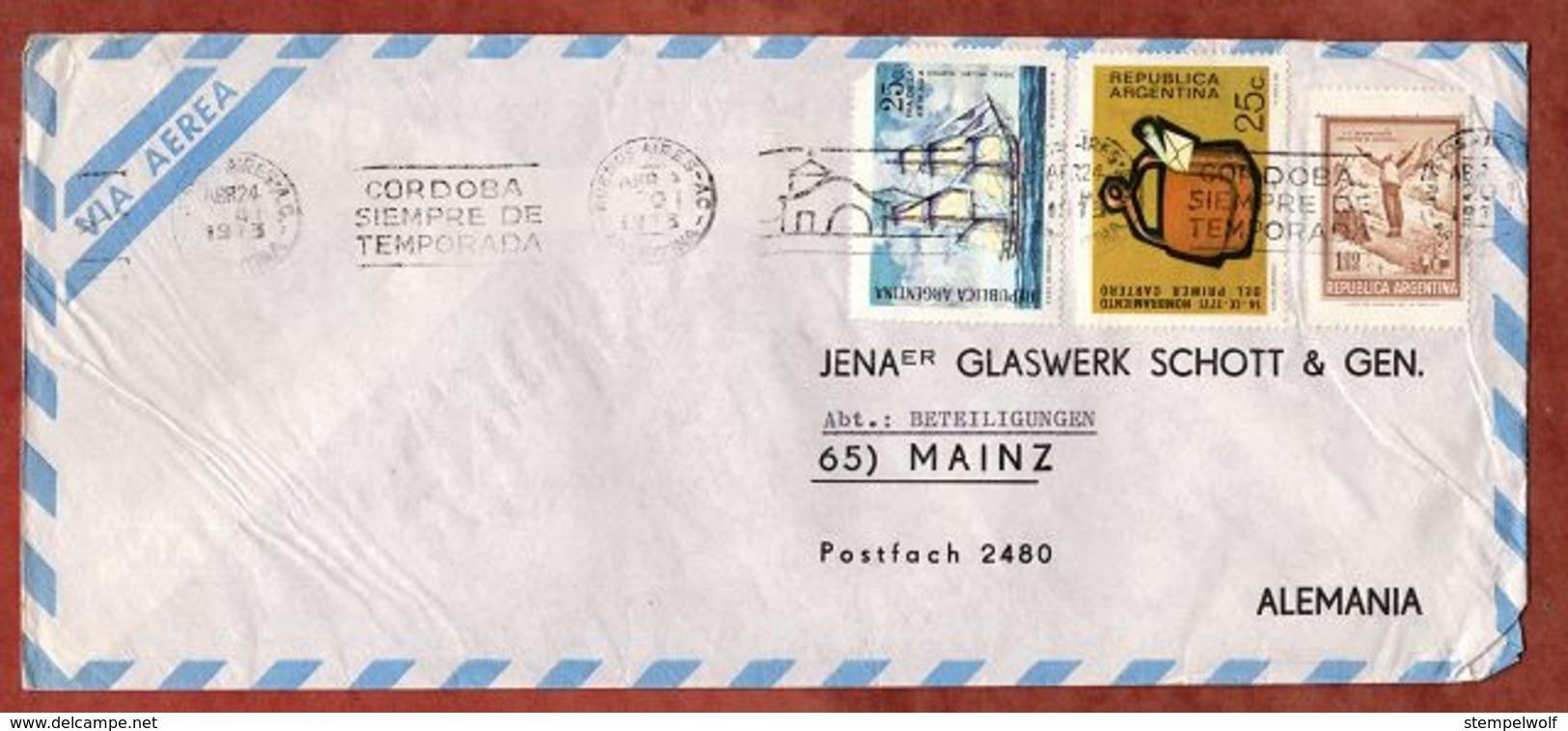 Luftpost, Briefaustragetasche U.a., MS Buenos Aires, Nach Mainz 1973 (79506) - Storia Postale
