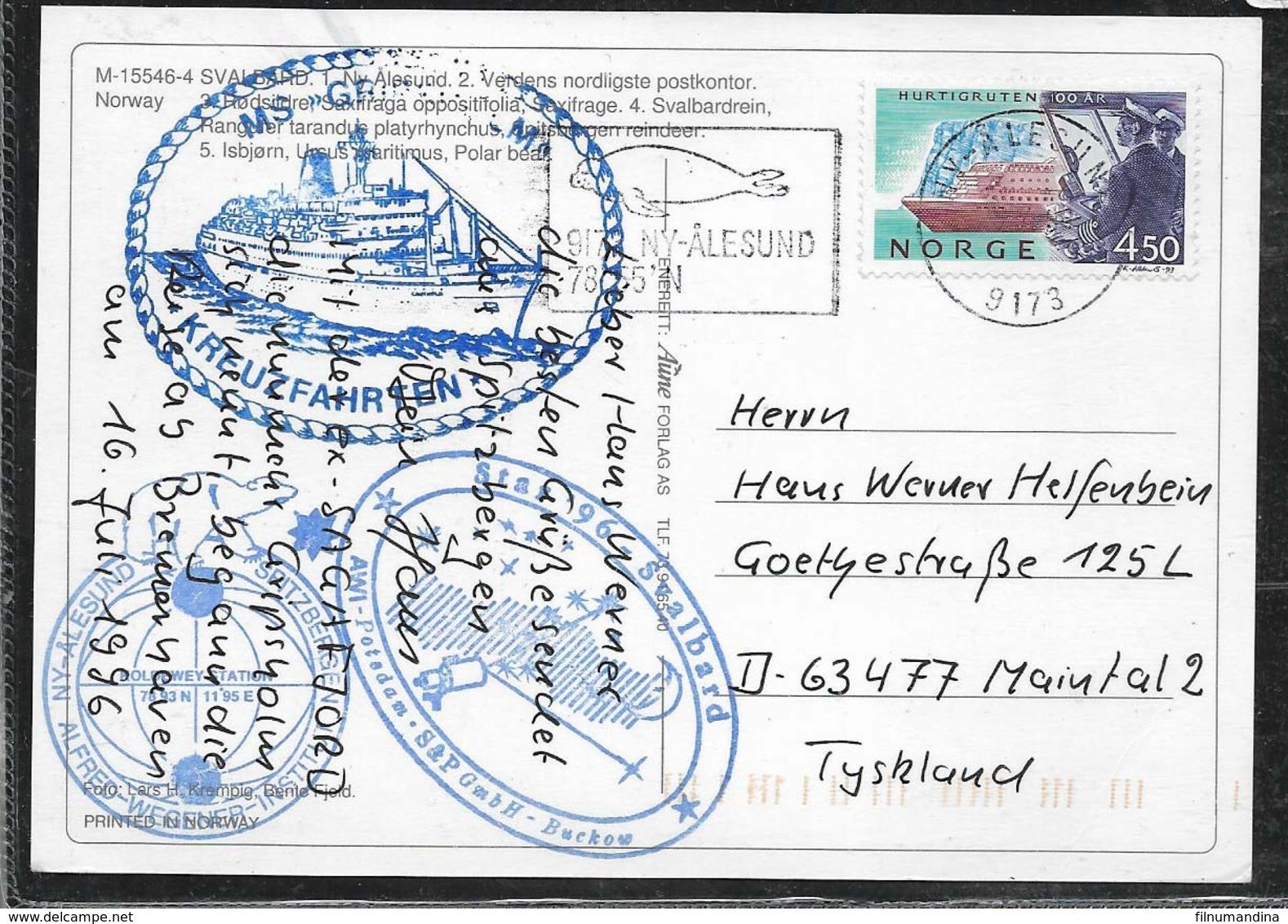 AANT-275 POLAR 1987 NY-ALESUND NORWAY  CRUCER SVALBARDREIN CARD - Vols Polaires