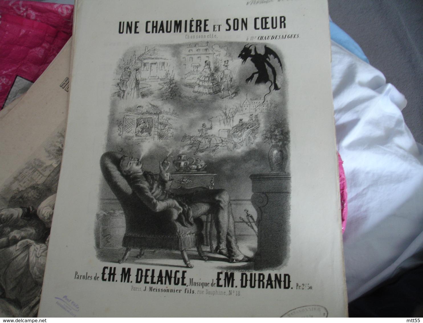 Partition Musique Ancienne Gravure De Stop Diable  Chaumiere Et Son Coeur Delange Et Durand - Musique & Instruments