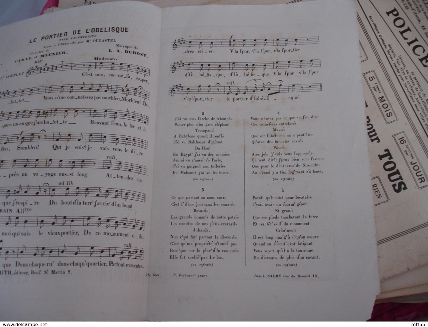 Partition Musique Ancienne Gravure Cafe Concert Caf Conf Eldorzado Portier Obelisque - Musique & Instruments