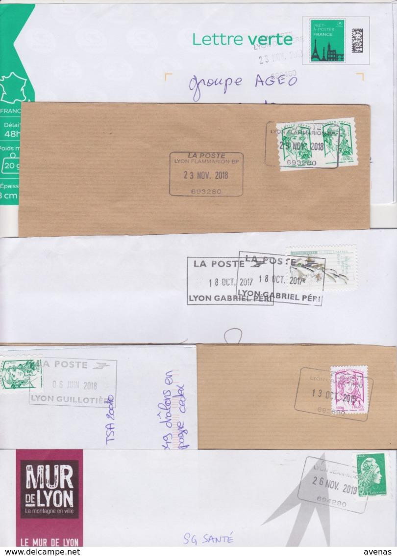 Lot De 12 Lettres Oblitération Cachet Composteur Dit UNIQUE Format Rectangle LA POSTE Type A200B Assimilé LYON 69 Rhone - Marcophilie (Lettres)