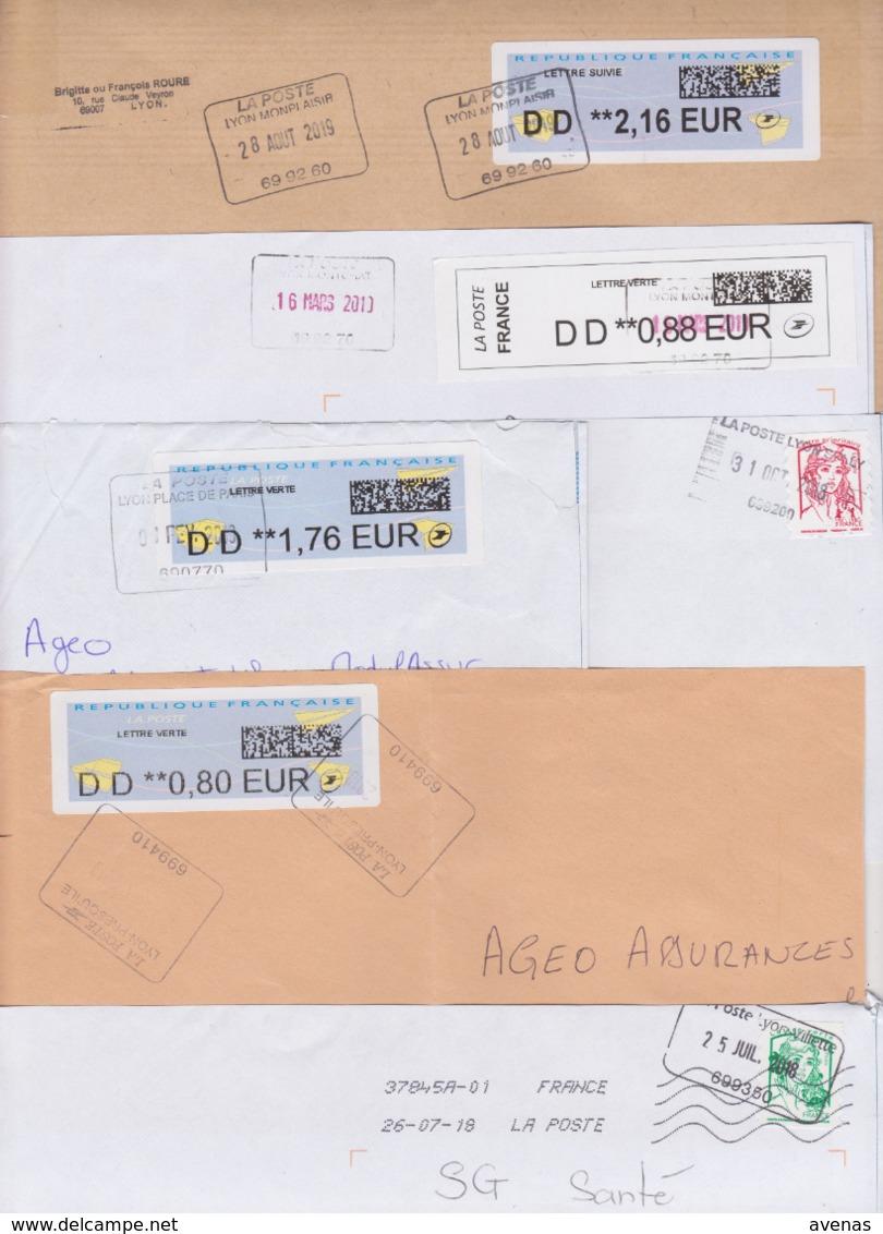 Lot De 12 Lettres Oblitération Cachet Composteur Dit UNIQUE Format Rectangle LA POSTE Type A200B Assimilé LYON 69 Rhone - Cachets Manuels