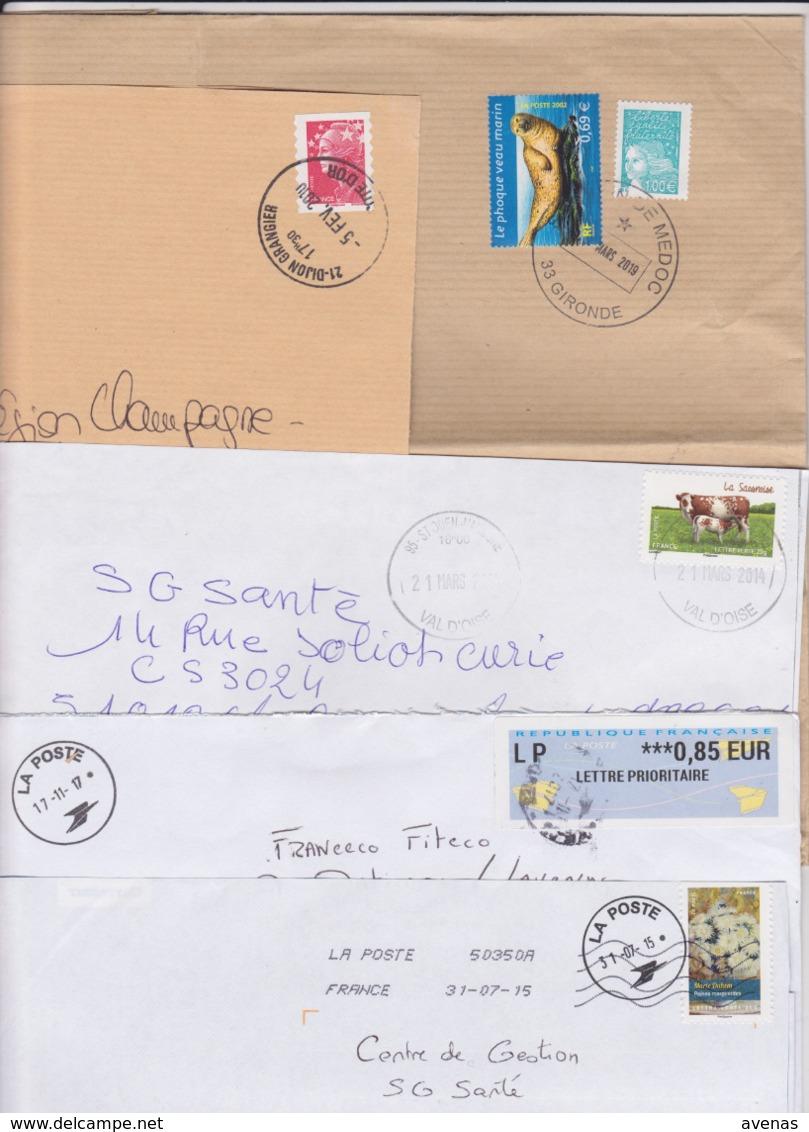Lot De 12 Lettres Oblitération Cachet Composteur Dit UNIQUE Format Rond LA POSTE Type A200B Assimilé 95 VAL D'OISE - Marcophilie (Lettres)