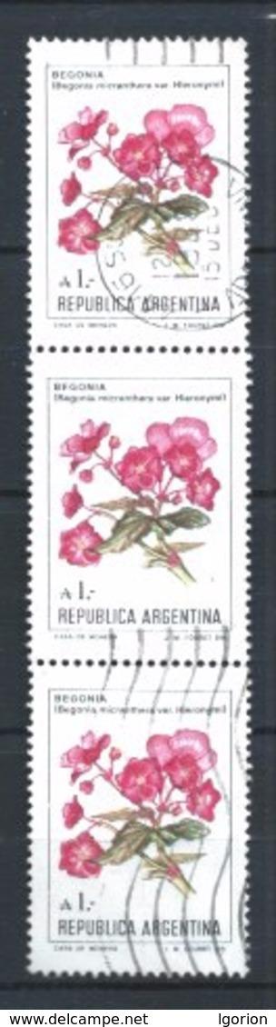 ARGENTINA 1985 (O) USADOS MI-1757 YT-1480 BL.3 FLORES - Argentina