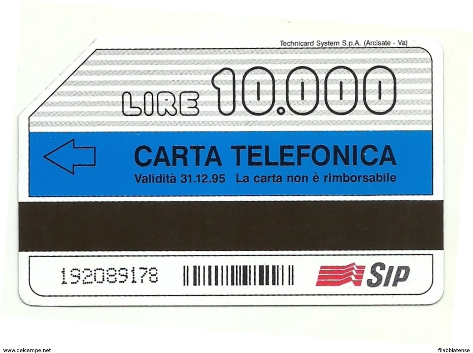 Italia - Tessera Telefonica Da 10.000 Lire N. 284 - 31/12/95 Sicilia - Italia
